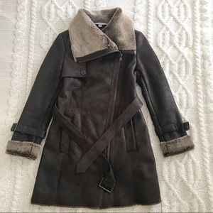 Andrew Marc Faux Shearling Fur Long Belted Coat